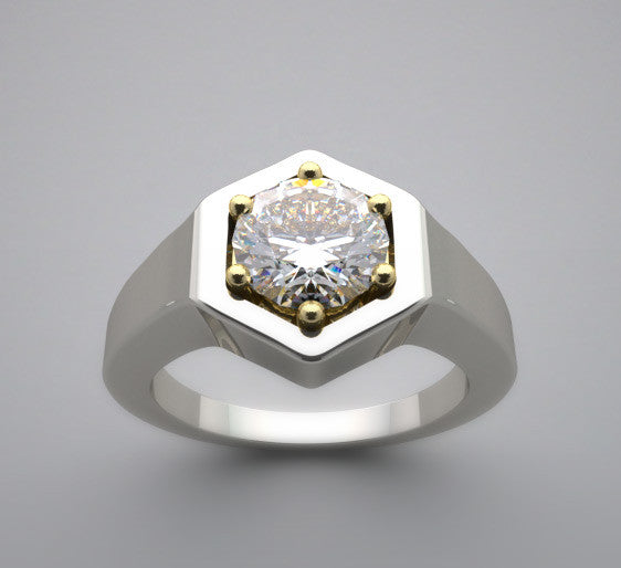 TWO TONE SOLITAIRE ENGAGEMENT RING SETTING OR REMOUNT UNUSUAL FLUSH DESIGN