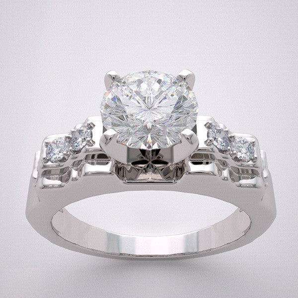 Vintage Style Engagement Ring Setting for All Size and Shapes Center Diamond
