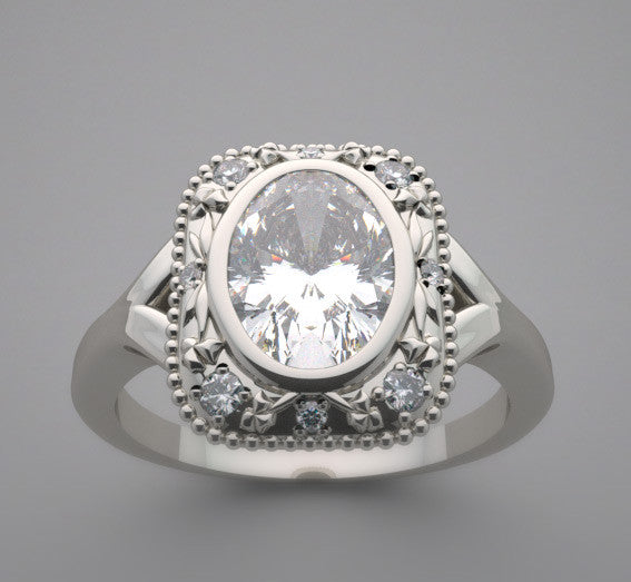 Different Style Halo diamond ring setting for an oval gemstone 8.00 x 6.00 mm