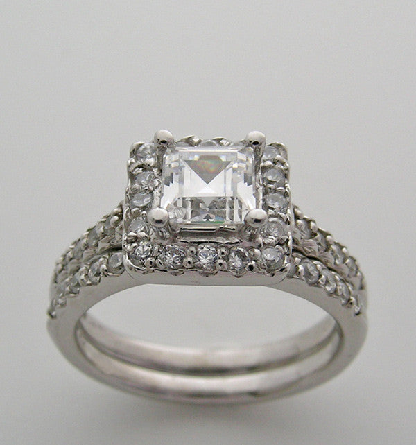 Engagement Diamond Ring Setting Set or Remount for a Princess Cut Diamond