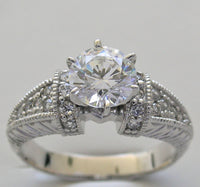 Antique Deco Styling diamond ring settings for all shapes gemstones