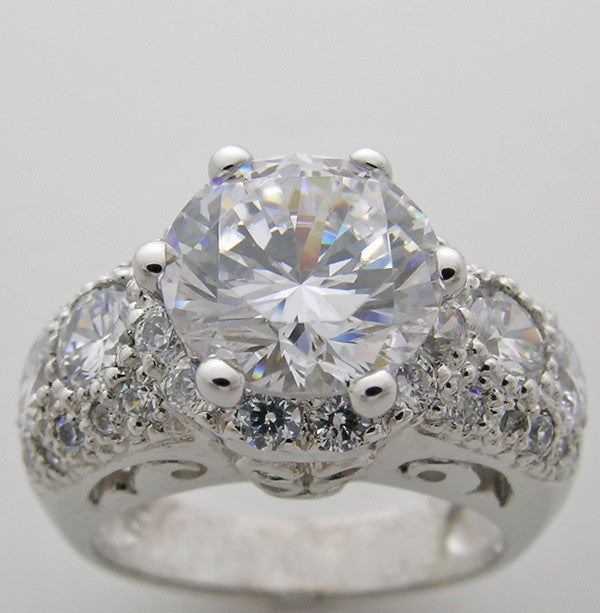 ENGAGEMENT RING SETTING ART DECO ANTIQUE STYLE ENCRUSTED WITH ACCENT DIAMONDS for a 9.00 MM CENTER DIAMOND