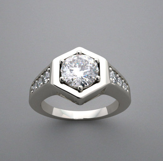 HEXAGONAL FLUSH SET PAVE DIAMOND ENGAGEMENT RING SETTING FOR A ROUND 6.50 MM DIAMOND