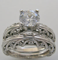 Engagement Ring Setting s Sets with Branch Design shown with a round center diamond