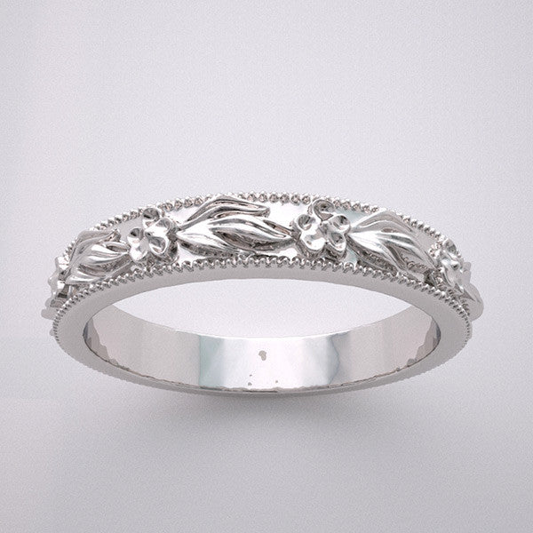 FLORAL MOTIF DESIGN WEDDING BAND