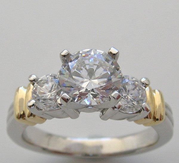 CLASSIC TWO TONE DIAMOND RING SETTING OR REMOUNT FOR ALL SIZE AND SHAPE GEMSTONE