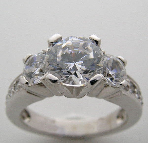 Diamond Ring Setting or Remount shown for a round 7.00 mm  Center Diamond