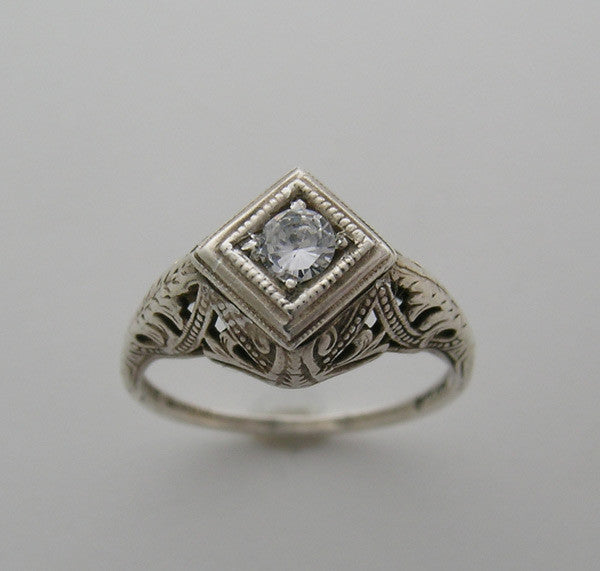 14k Old World Art Deco Vintage Ring Setting for a round diamond
