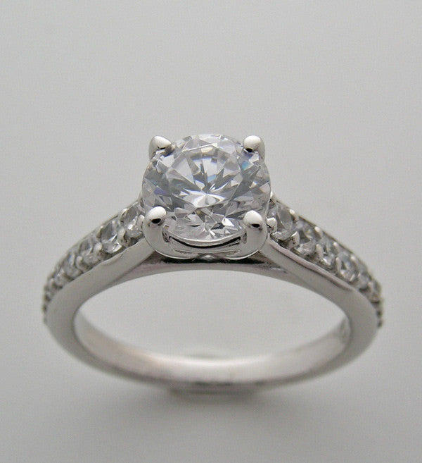 Diamond Accent ring Setting to fit 1.00 Carat Round Diamond