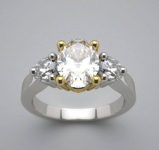 Two Tone Diamond Ring Setting, Oval Shape