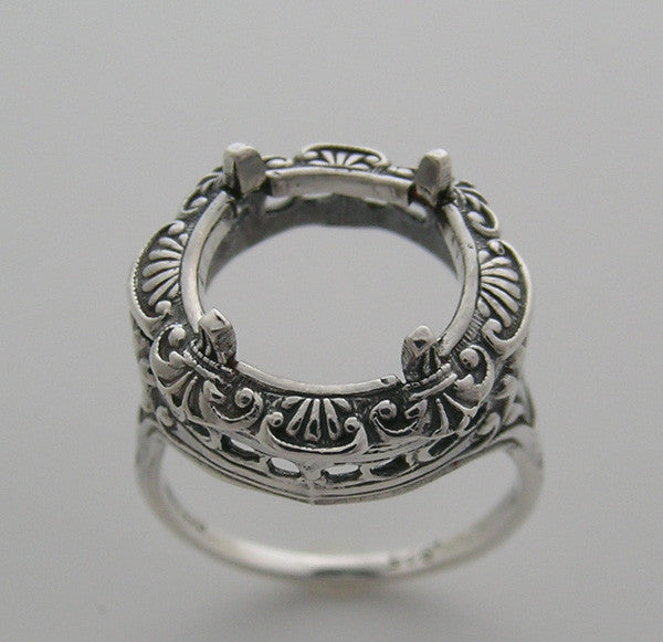 Filigree old world vintage style ring setting 11 MM Round