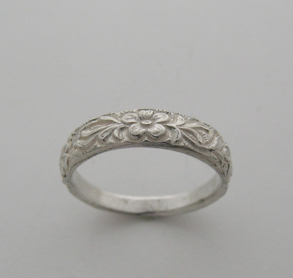 Antique Style Floral Engraved Wedding Band Stack Ring