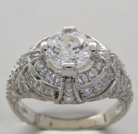 ENGAGEMENT RING SETTING OR REMOUNT RING ART DECO STYLE FOR A 1 CARAT ROUND DIAMOND