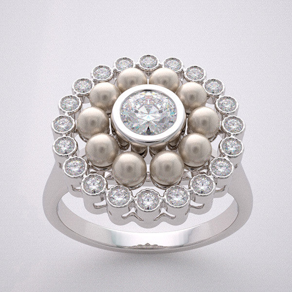Diamond Pearl Engagement Ring Setting
