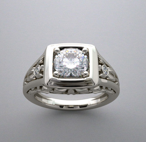 Floral Desin ring setting for a 1.00 carat round diamond