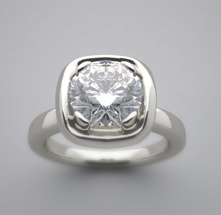 Contemporary Design Ring Setting for a 6.5 mm round diamond
