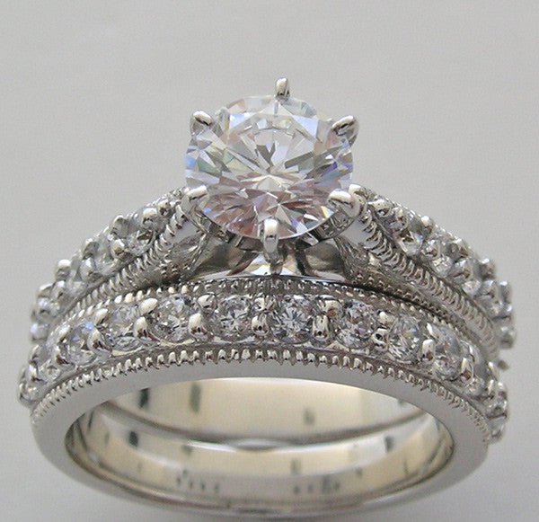 14K Diamond Wedding Ring Setting Set
