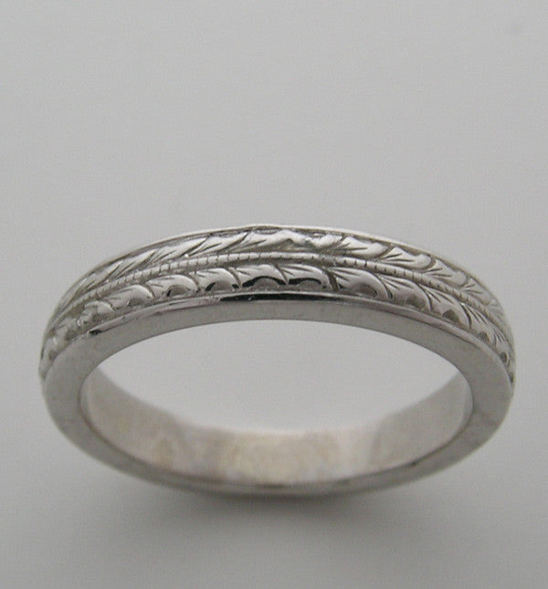 WEDDING BAND RING ART DECO ANTIQUE VINTAGE STYLE ENGRAVED