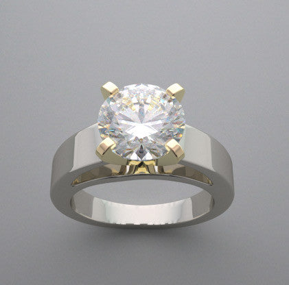 TRADITIONAL ELEGANT HEFTY TWO TONE SOLITAIRE RING SETTING FOR A 9.00 MM ROUND DIAMOND