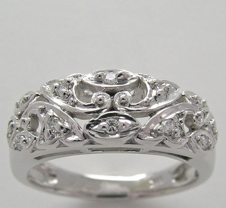 14k Diamond Wide Wedding Band Floral Feminine