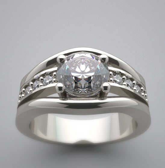 DUAL DIAMOND ACCENTED ENGAGEMENT RING SETTING FOR 7.00 MM ROUND DIAMOND