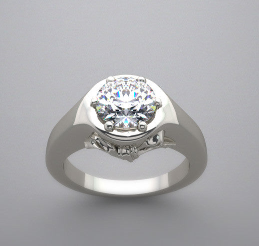 Lotus Bow Design Engagement Ring Setting