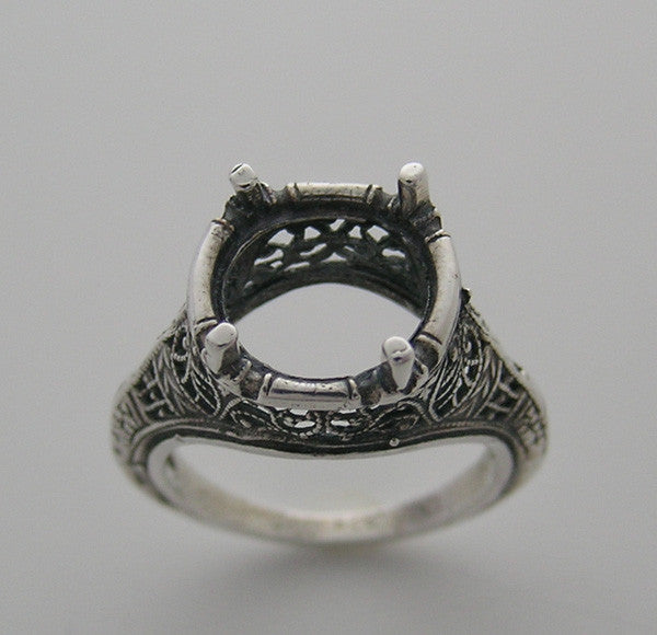 Antique Style Ring Setting For A Round 10.00 mm