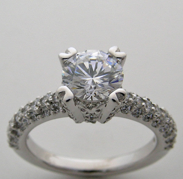 Pave Diamond Engagement Ring Setting for a round 6.50 mm center Gemstone