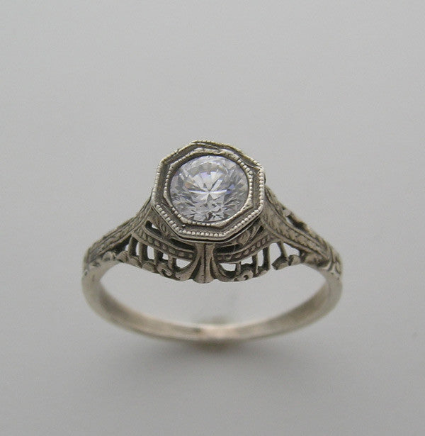 High Crown Filigree Art Deco Antique Style Ring Setting for a 5.00 mm Diamond