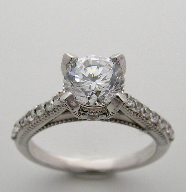 Diamond Ring setting shown with a 1.00 Carat round diamond