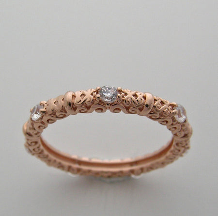 14K PINK GOLD DIAMOND RING BAND