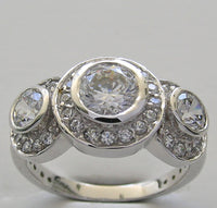 Three Ston Diamond Ring Setting for 6.00 mm Center