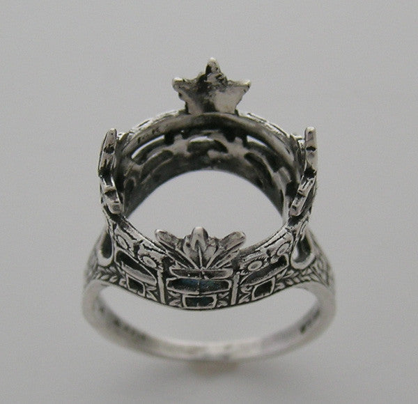 14k Gold Antique Style Crown Ring Setting  for a 13.00 mm