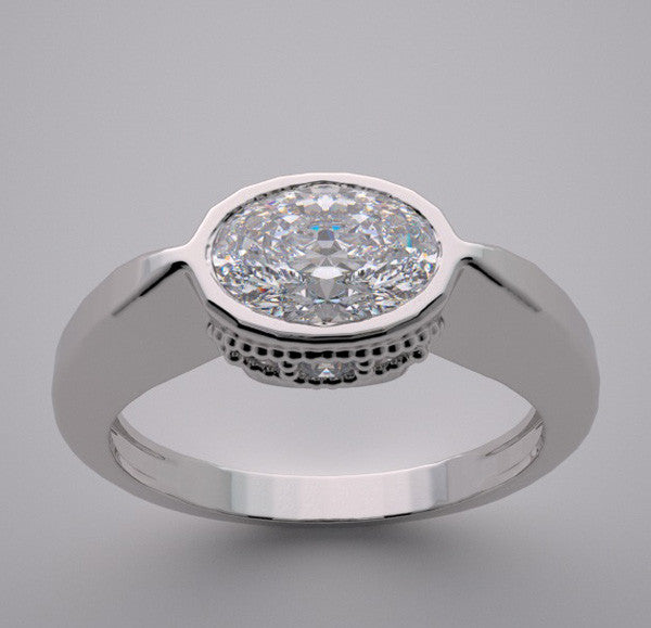 Oval Shape Stone Diamond Ring Setting