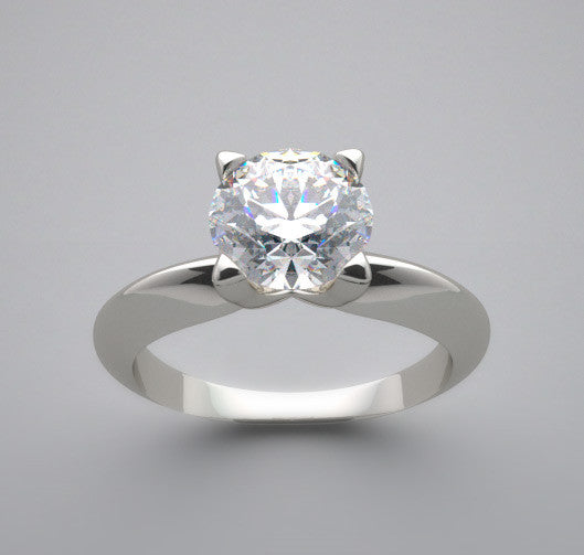 Knife Edge Solitaire Engagement Ring Setting for a 6.5 mm Round Center Diamond