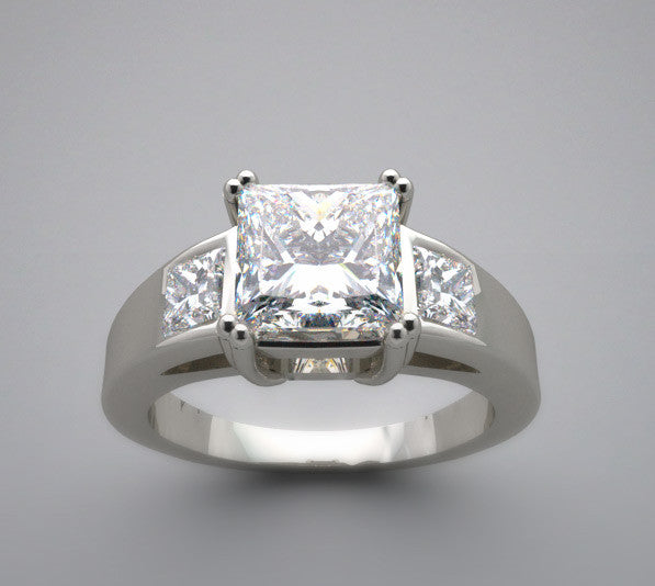 Three Stone Ring Setting for a Princess Cut Diamonds measuring 6.00 x 6.00 mm diamonds