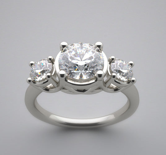 Three Stone Trellis Motif Designed Engagement ring setting for a 1.00 Carat Center Round Diamond