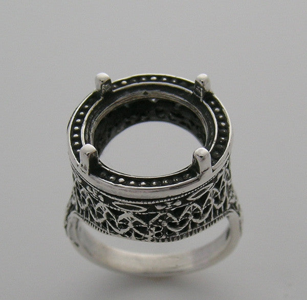 14k Filigree ring setting for round gem 12mm