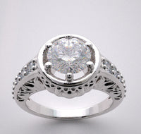 Lotus Design Diamond Engagement Ring Setting for a 7.00 mm or a 1.25 Carat round diamond