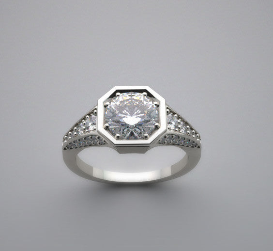 Art Deco Antique Style Diamond Ring Setting for a 6.50 mm Center Diamond