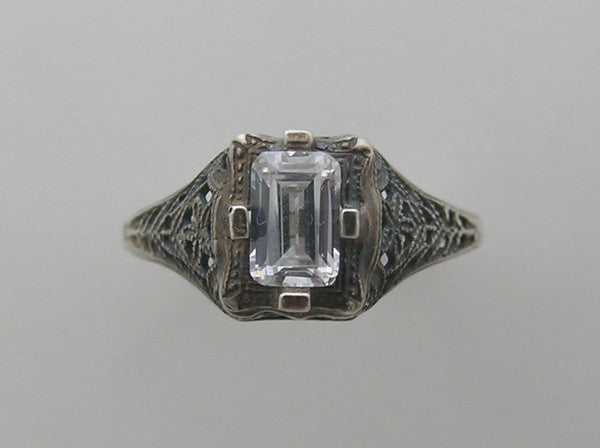 14K White Gold Filigree Ring Setting 6X4 MM