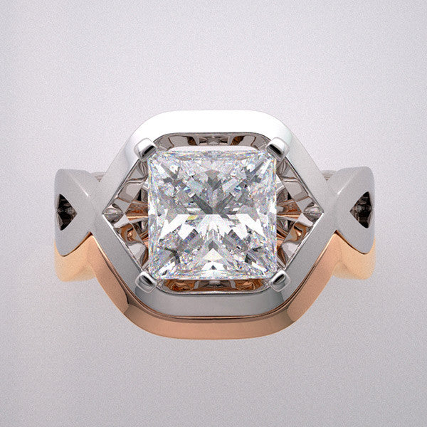 Architectural Design Gold Ring Setting Set