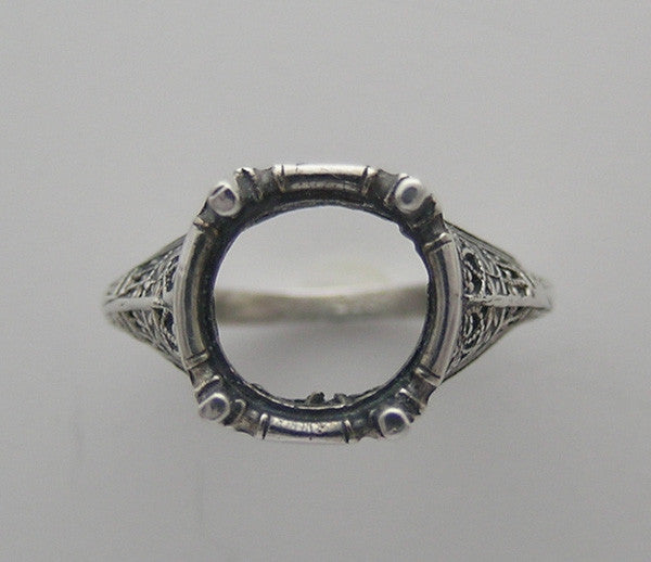 Gold Filigree Ring Setting 10.00 MM Center