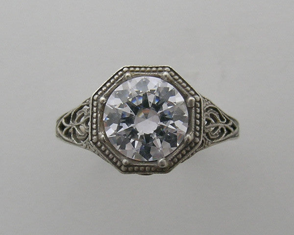 White Gold Ring Setting Filigree Deco Design 8.00 mm