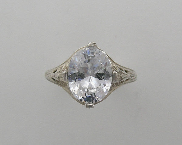 IMPORTANT VINTAGE ART DECO STYLE FILIGREE ENGAGEMENT RING SETTING