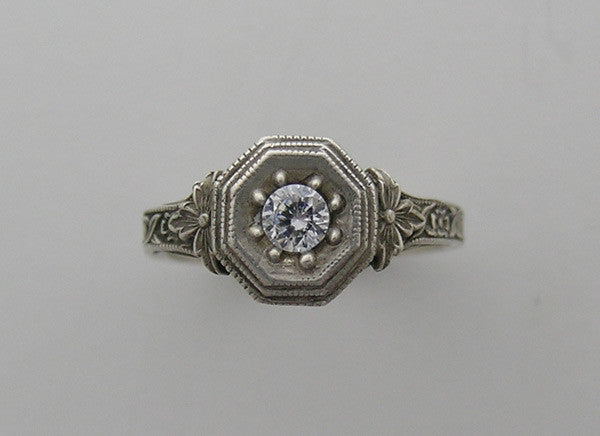 FEMININE ANTIQUE ART NOUVEAU STYLE  RING SETTING
