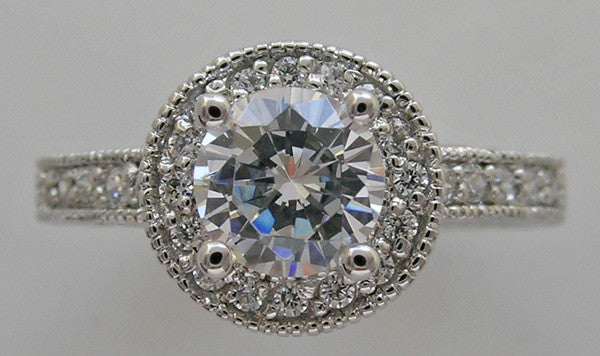 DIAMOND HALO ACCENT ENGAGEMENT RING SETTING