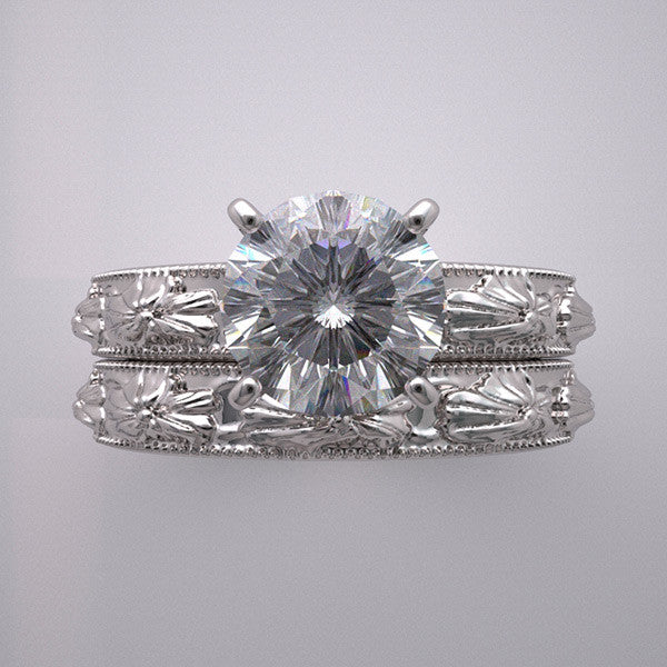 ROMANTIC FLOWER BLOSSOM ENGAGEMENT SETTING BRIDAL RING SET