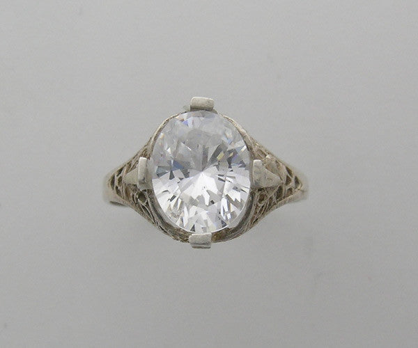 14K Art Deco Style Engagement Ring for an Oval Shape 11.00 x 9.00 mm