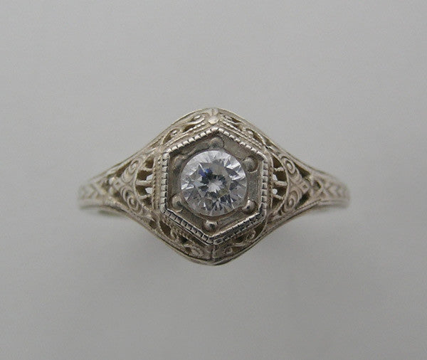FEMININE ART DECO ANTIQUE STYLE LACEY FILIGREE RING SETTING FOR YOUR STONE